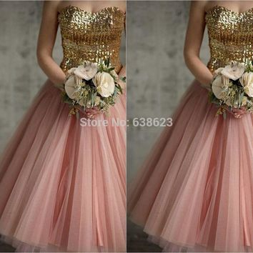 DAB2444 Free Shipping New Lace Up Back Gold Sequins Pink Tulle Tea Length A-line Vintage Bridesmaid Dresses