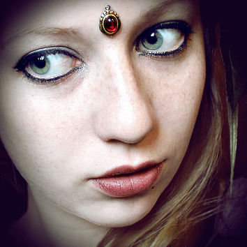 Ruby Bindi, skin gem, facial jewelry, tribal fusion, bellydance, fairy, wicca, goddess head piece, third eye, pagan jewelry, wiccan jewelry