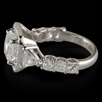 Big princess diamond 4.35 carat 3-stone anniversary ring white gold 14K jewelry