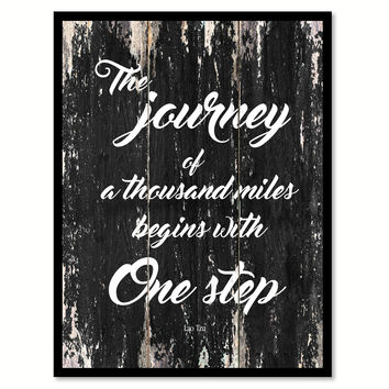 The journey of a thousand miles begins with one step Motivational Quote Saying Canvas Print with Picture Frame Home Decor Wall Art