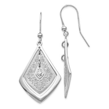 Leslie Silver Polished Filigree Dangle Earrings