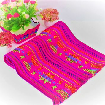 Pink Mexican table runner, Cinco de mayo party decorations - TRC40