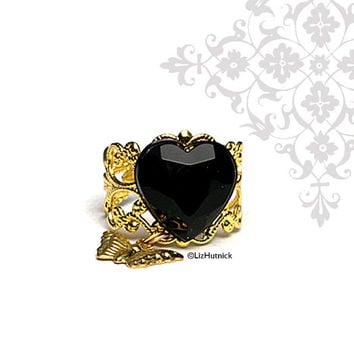 Black Heart Ring. Charm Ring with Butterfly. Cocktail Ring. Adjustable.