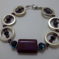 Gorgeous, purple, glass bead, sterling silver, ring, pin up girl, unique, one of a kind, bracelet