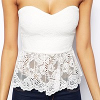 ASOS Bandeau Top in Lace with Godet Hem