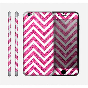 The Pink & White Sharp Glitter (Print) Chevron Skin for the Apple iPhone 6