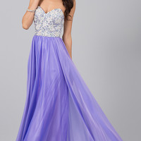 Purple Strapless Long Prom Dress