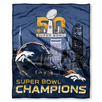 Denver Broncos NFL Super Bowl 50 Champions Silk Touch Super Soft Blanket (50in x 60in)