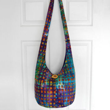 Cross Body Bag Hobo Bag Hippie Purse Sling Bag Boho Bag Slouch Bag Hobo Purse Hippie Bag Batik Hobo Bag Handmade Bag Batik Bohemian Purse