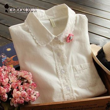DCCKF4S White Blouse Button Up Lace Crochet Turn Down Collar Long Sleeve Cotton Top Shirt with Pocket Size S-L blusas feminina T58324