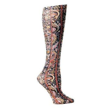 Lightweight Patterned Compression Socks in Black Versache