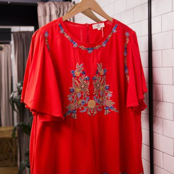 Embroidered Blouse, Tomato Red