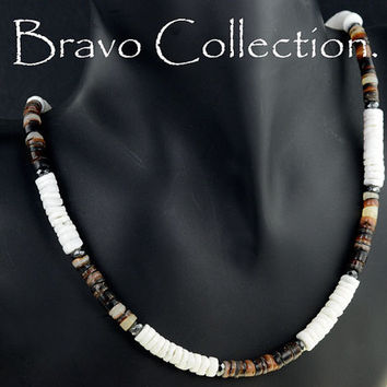 SN-106 Bravo Collection Brown Lip, Clam Shell Hematite Stones Choker Men Necklace.