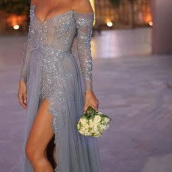 Sexy Women Summer Evening Dresses With Off The Shoulder Long Sleeves Lace Tulle Sequins Party Prom Maxi Dress