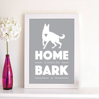 Home Is Where the Bark Is German Shepherd Dog Puppy Animal Pet Silhouette Poster Wall Art Print Dog Lovers Home Decor Room Decor