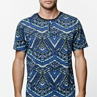 On The Byas Miraloma Puzzle Henley T-Shirt - Mens Tee - Blue