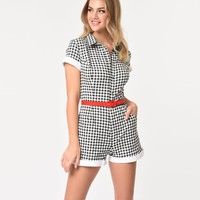Unique Vintage Black & White Retro Gingham Collared Cotton Stretch Dixie Romper