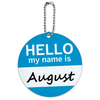 August Hello My Name Is Round ID Card Luggage Tag