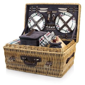 Canterbury Picnic Basket in Navy + Green Tartan