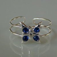 925 Sterling Silver Butterfly Toe Ring With Blue Crystal Gems