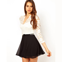 WHITE BUD SILK LONG SLEEVE SPLICING BLACK CHIFFON DRESS