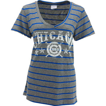 Chicago Cubs MLB Womens Striped Tri-Blend V-Neck T-Shirt