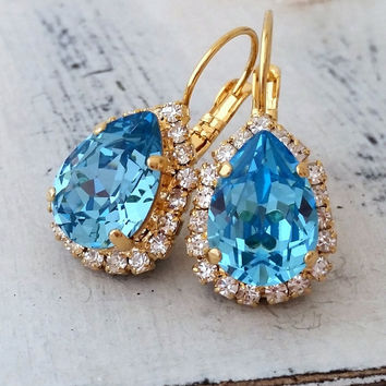 Aquamarine crystal drop earrings, Aqua blue earrings, Swarovski earrings, Dangle earrings, Bridal earrings, Bridesmaids gift, Gold or silver