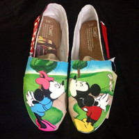 Hand painted Mickey & Minnie Toms