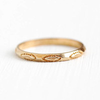 Vintage Wedding Band - 10k Rosy Yellow Gold Dainty Stacking 40s Ring - Retro 1940s Size 4 3/4 Eternity Engraved Pattern Petite Fine Jewelry
