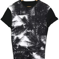 Square Palm Tree Black All Over T Shirt