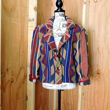 80s southwestern jacket size M / boho tribal woven cotton jacket / Santa Fe thick cotton jacket