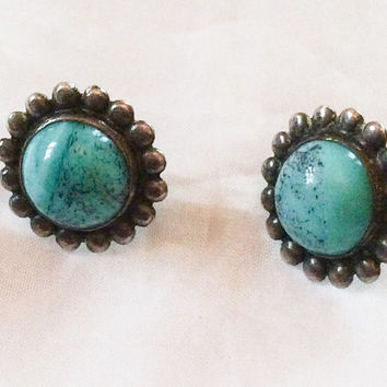Native American Turquoise Earrings Sterling Silver Art Deco Vintage Jewelry