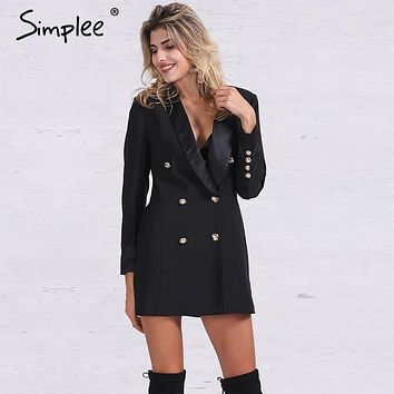 Simplee Apparel OL double breasted long suit blazer femme Autumn cool slim white ladies blazer Women coat jacket casual outwear
