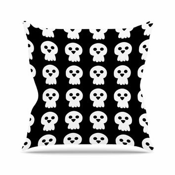 "bruxamagica ""Cute Halloween Skull"" Black White Illustration Holiday Pattern Outdoor Throw Pillow"