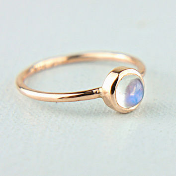 Rose Gold Moonstone Ring 14k Yellow Rose White Gold Rainbow Moonstone Gold Ring Made in Your Size Rainbow Moonstone Engagement Ring