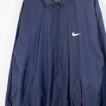 BLUE NIKE WINDBREAKER // nike jacket / nike coat / swoosh / just do it / zip up / minimal / paint splatter / 90s vintage / mens / large