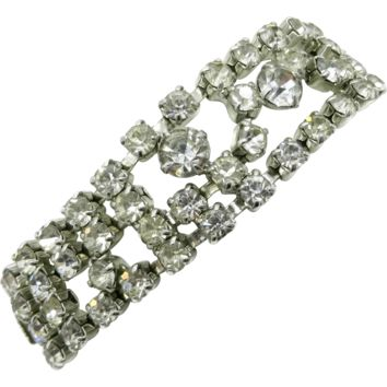 Kramer of New York Prong Set Rhinestone Silvertone Bracelet