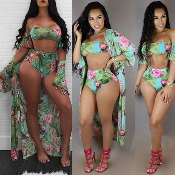 3Pcs Women Bikini Set Padded Halter Swimwear Cover Up