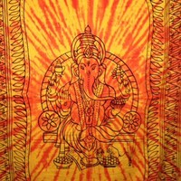 Ganesh Tapestry Tie Dye Orange - Mellow Mood