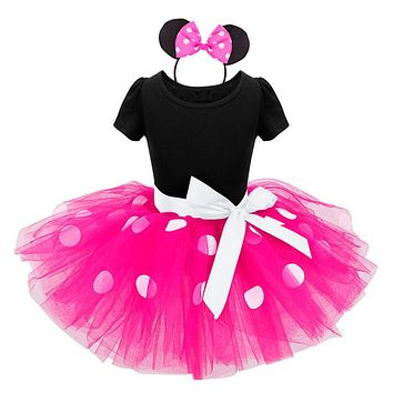 New kids dress minnie mesh princess party costume infant clothing Polka dot baby clothes birthday girls tutu dresses Headband