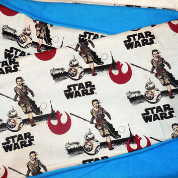 White Star Wars Infinity Scarf - Soft Cotton Flannel - Turquoise Blue Star Wars Scarf  - Women's Scarf - New Force Awakens