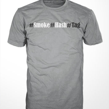 Smoke Hash Tag - funny,  tee shirt, mens gift, weed, marijuana, humor, graphic, sports, hash tag