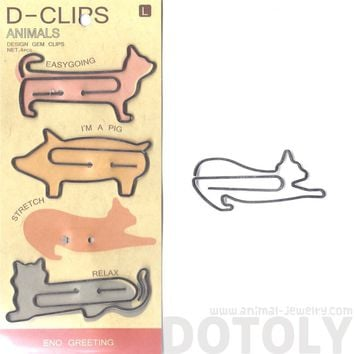 Kitty Cats in Different Poses Shaped Animal Themed Paper Clips | DOTOLY
