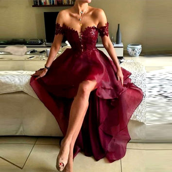 Sexy Dark Red High Low Sweetheart Tier Lace Organza Evening Dresses 2017 Formal Women Long Party Prom Gowns robe de soiree VE309