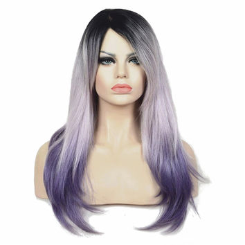 Light purple Ombre Wig Long Straight Hair Synthetic Full Wig