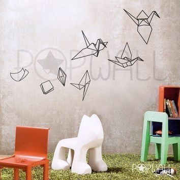 Wall stickers wall decals - Paper Evolving into Origami Crane - 021