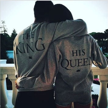 Couple T-Shirt King and the Queen Long Sleeve Love Matching Shirts   queen (gray)    king(dark gray) [9221913476]