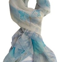 Sheer White & Turquoise Butterfly & Floral Scarf