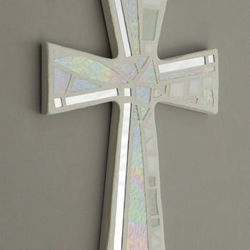 "Mosaic Wall Cross, Shades of White + Iridescent Glass + Silver Mirror, Handmade Stained Glass Mosaic Cross Wall Decor, 12"" x 8"""