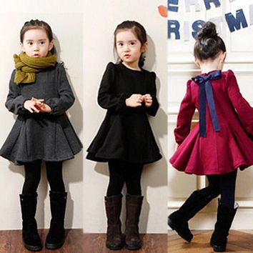Girl Spring Thick Warm Dress Girls Cotton Dresses Children Long Sleeve Solid Princess Dress Bow-knot Casual Kids Pleated Cloth